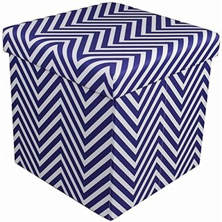 Chevron Storage Ottoman - Navy Blue