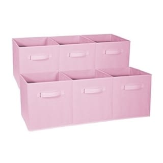 Foldable Storage Cubes - 6 Pack, Pastel Pink