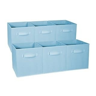 Foldable Storage Cubes - 6 Pack, Pastel Blue