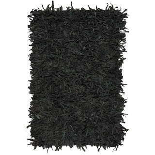 Safavieh Hand-Knotted Leather Shag Black Leather Rug - 4' x 6'