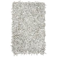 Safavieh Hand-Knotted Leather Shag Grey/ White Leather Rug - 4' x 6'