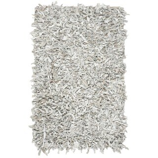 Safavieh Hand-Knotted Leather Shag Grey/ White Leather Rug (4' x 6')