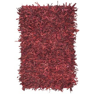 Safavieh Hand-Knotted Leather Shag Red Leather Rug - 4' x 6'
