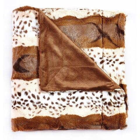 De Mooci Animal Print Design Reversible Faux Fur Blanket Back with Micromink - Animal Print - 63 in x 87 in