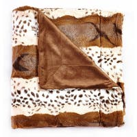 De Mooci Animal Print Design Reversible Faux Fur Blanket Back with Micromink