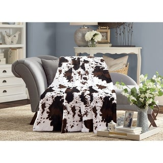 De Moocci Cow Print Reversible Faux Fur Blanket Back with Micromink