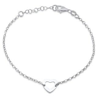 Pori Jewelers sterling silver heart charm bracelet - strand