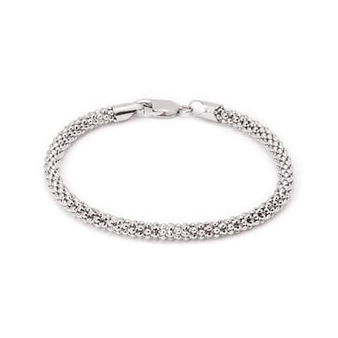 Pori Jewelers 18K White Gold ptd Sterling Silver Textured Coreana Chain Bracelet - strand