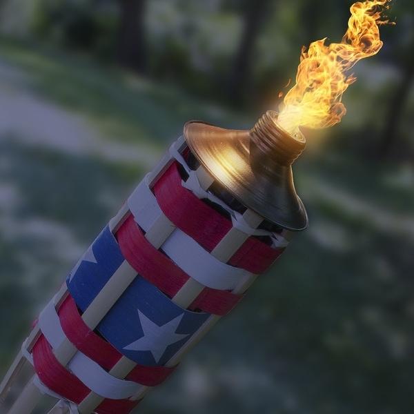 American Flag Patio USA Patriotic Tiki Torch Torches 4