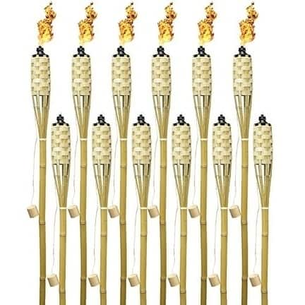 12 Bamboo Torches - 5' Length