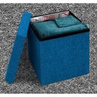 Faux Linen Ottoman - Blue