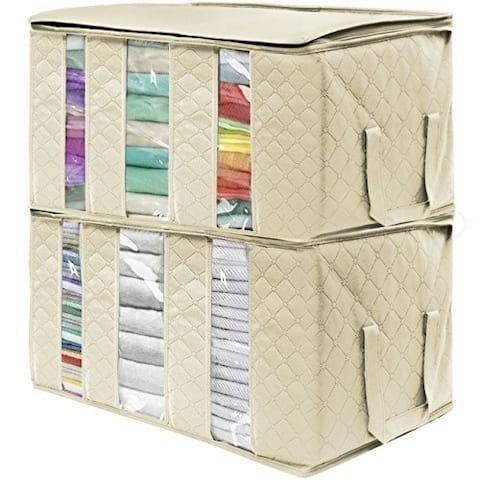 Sorbus Foldable Storage Bag Organizers, 3 Sections, 2Pack