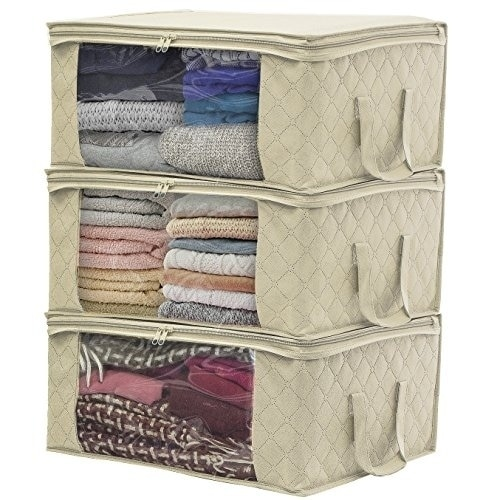 Sorbus Foldable Storage Bag Organizers Large Clear Window Carry Handles 3pack