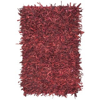 Safavieh Hand-Knotted Leather Shag Red Leather Rug (5' x 8')