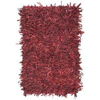 Safavieh Hand-Knotted Leather Shag Red Leather Rug - 5' x 8'