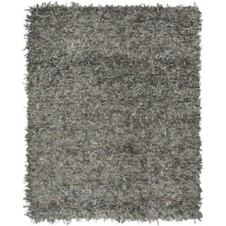 Safavieh Hand-Knotted Leather Shag Grey/ Beige Leather Rug - 6' x 9'