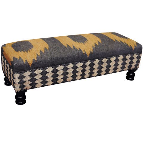 "Handmade Tribal Kilim Upholstered Bench (India) - 48"" L x 15"" W x 15"" H"