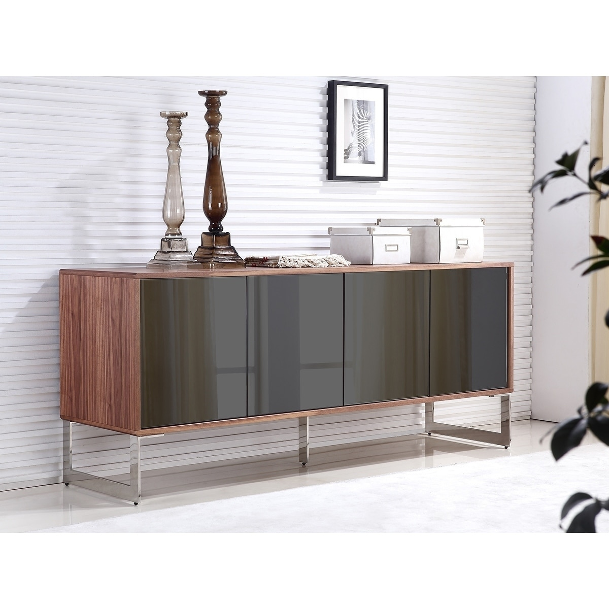 Casabianca Home Cuadro Walnut Veneer with Mirrored Glass ...