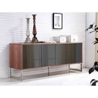 CUADRO Walnut Veneer w Mirrored Glass  Buffet by Casabianca Home