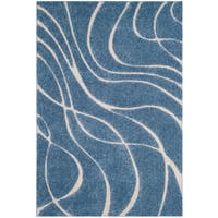 Safavieh Shag Light Blue/ Cream Rug - 6' x 9'