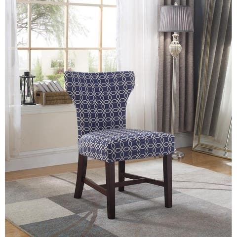 Best Master Furniture 623 Blue White Fabric Accent Chair