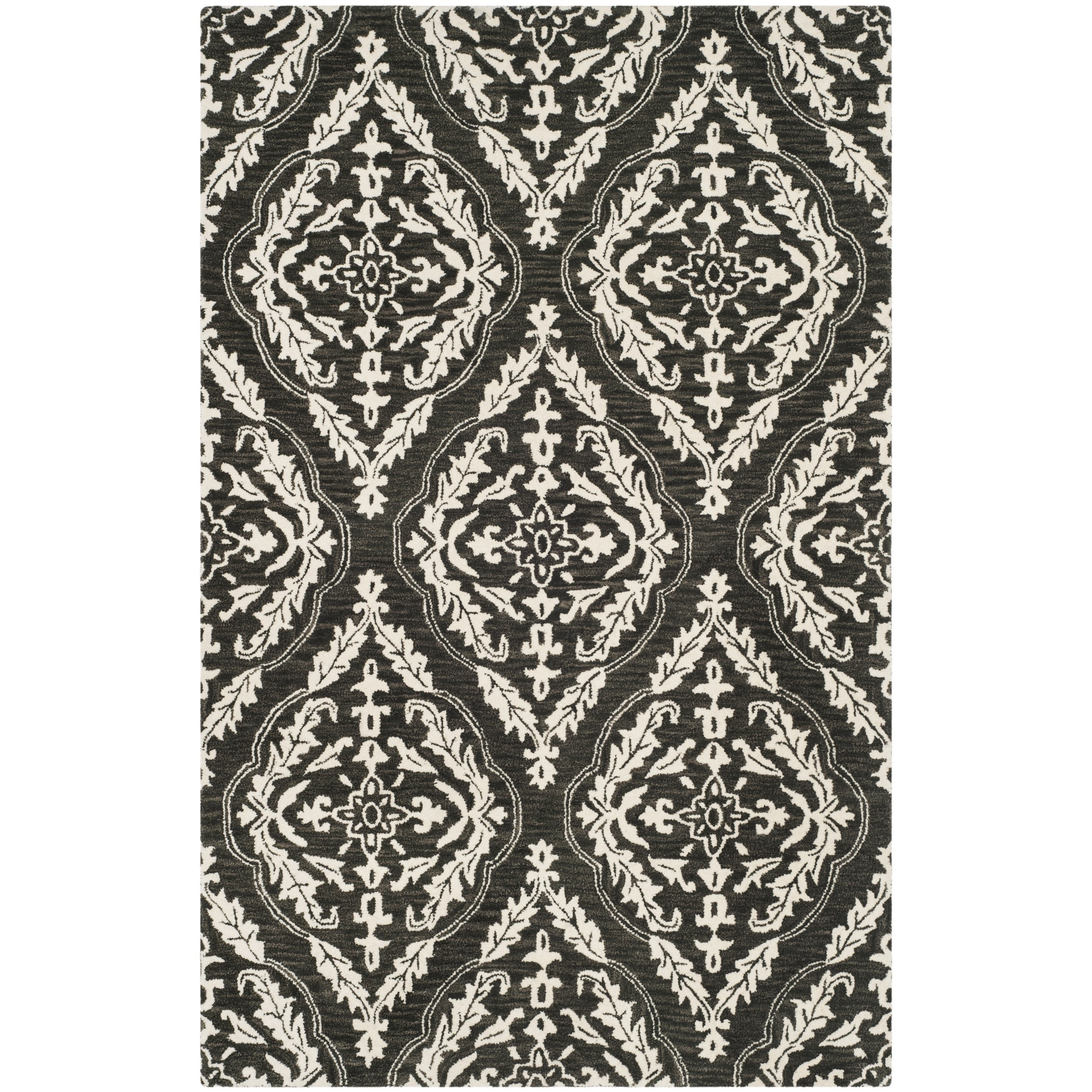 Safavieh Handmade Blossom Charcoal Ivory Wool Rug 8 X