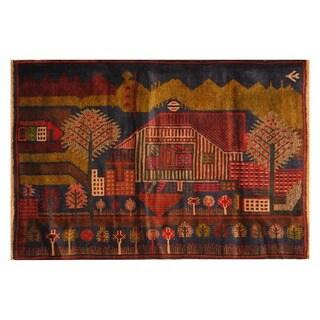 Handmade Herat Oriental Afghan Hand-knotted Wool War Rug (3'1 x 4'6) - 3'1 x 4'6