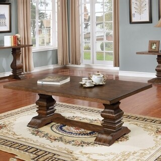 Best Quality Furniture 2-Piece Walnut Coffee and End Table Set