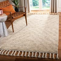 Safavieh Hand-Knotted Kenya Ivory/ Grey Wool Rug (8' x 10') - 8' x 10'