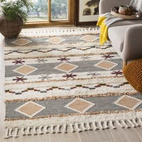 Safavieh Hand-Knotted Kenya Tribal Ivory/ Orange Wool Rug - 9' x 12'