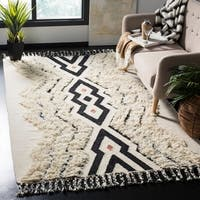 Safavieh Hand-Knotted Kenya Ivory/ Black Blue Wool Rug - 9' x 12'