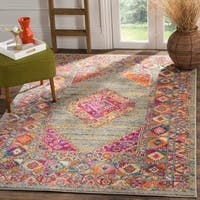 Safavieh Madison Boho Diamond Medallion Light Grey/ Fuchsia Rug - 9' x 12'