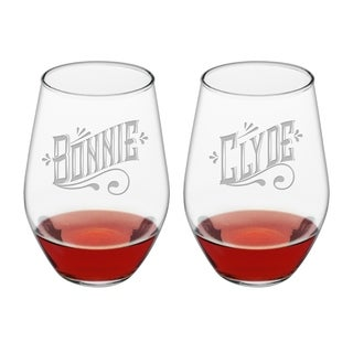 Bonnie & Clyde Stemless Wine (Set of 2)