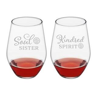 Kindred Spirit & Soul Sister Stemless Wine (Set of 2)