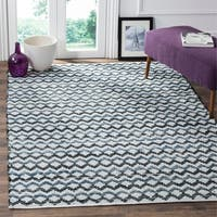 Safavieh Hand-Woven Montauk Ivory Blue/ Black Cotton Rug - 10' x 14'