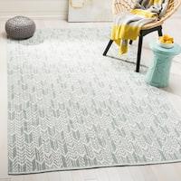 Safavieh Hand-Woven Montauk Light Green/ Ivory Cotton Rug - 8' x 10'
