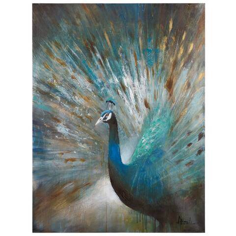 """Yosemite Home Decor """"Peacock Prowess"""" Original Hand-Painted Wall Art - Multi-Color"""