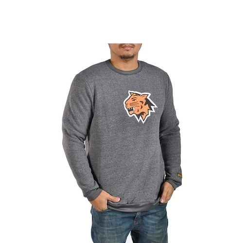 Mens Fleece Long Sleeve Athletic Charcoal Sweater Wildcat Patch