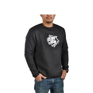 Mens Fleece Long Sleeve Athletic Black Sweater Wildcat Patch