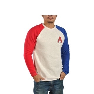 Mens Fleece Long Sleeve Athletic Red and Blue Sweater Capital A Patch