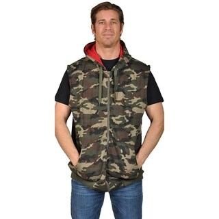 Knockout Men's Sleeveless Contrast Hoodie (2XL, Green Camo) (5 options available)