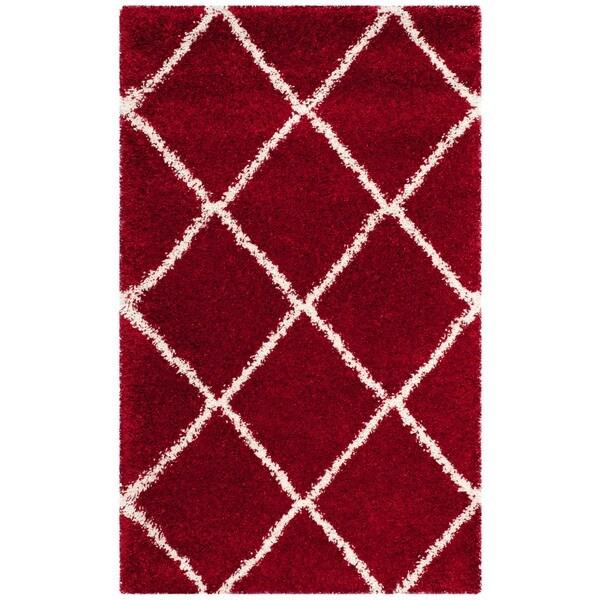 Safavieh Hudson Shag Red/ Ivory Rug - 2'3 x 3'9