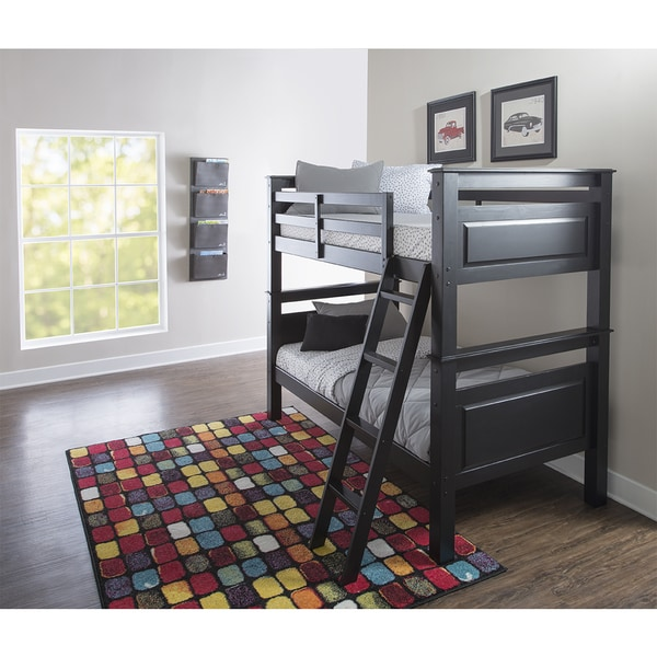 Powell White Twin Bedroom In A Box: Shop Powell Beckett Black Wood Twin Over Twin Bunk Bed