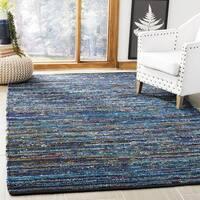 Safavieh Hand-Woven Rag Rug Bohemian Turquoise/ Black Cotton Rug - 2'6 x 4'