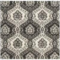 Safavieh Handmade Blossom Charcoal/ Ivory Wool Rug - 6' Square