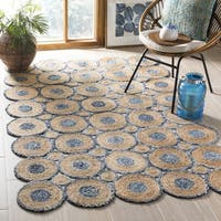 Safavieh Hand-Woven Cape Cod Blue/ Natural Jute Rug - 6' x 6' Square