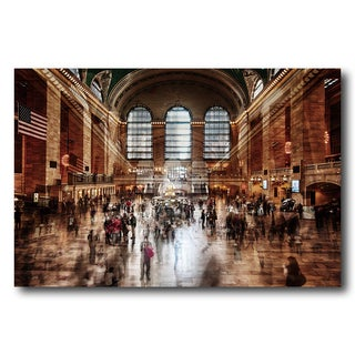 Benjamin Parker 'Grand Central Station' 40 x 60-inch Tempered Art Glass