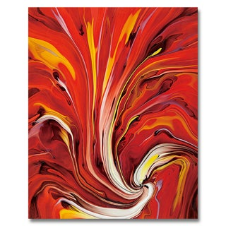 Benjamin Parker 'Red Motion' 48 x 60-inch Tempered Art Glass