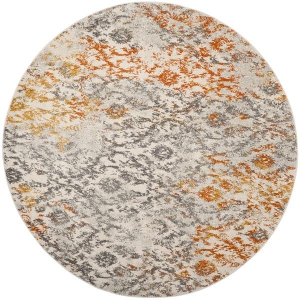 Safavieh Madison Cream/ Orange Rug (5' Round)