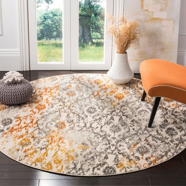 Safavieh Madison Cream/ Orange Rug - 5' Round